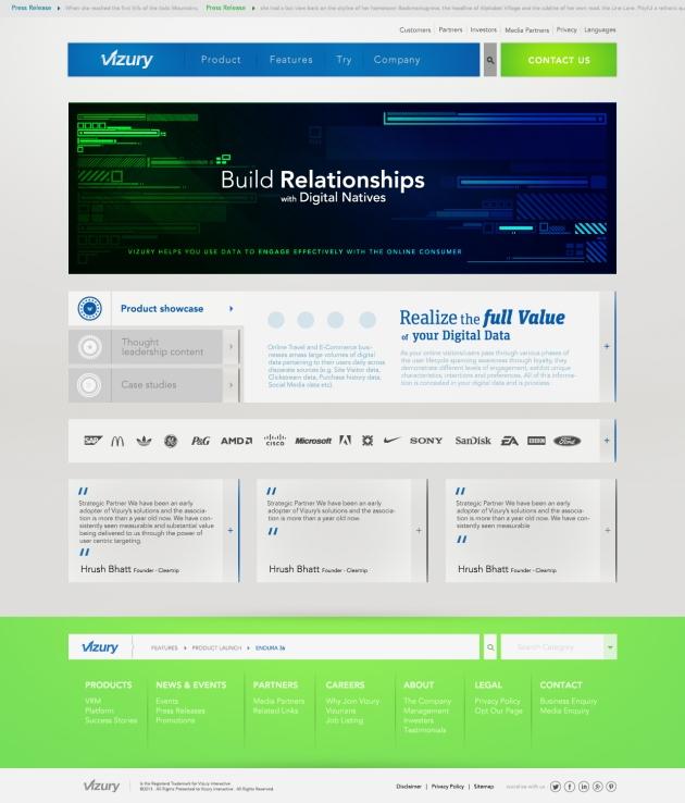 Vizury homepage redesign sample